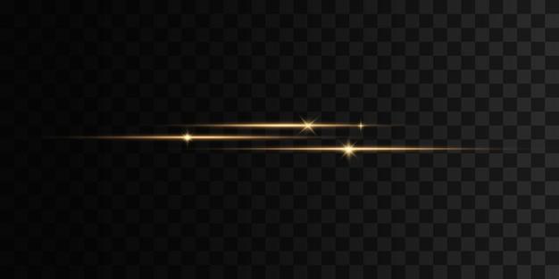 Пакет желтых горизонтальных линз бликов лазерные лучи горизонтальные линии световых лучей набор вспышек огней искрится на прозрачном фоне яркие золотые блики абстрактные золотые огни изолированы
