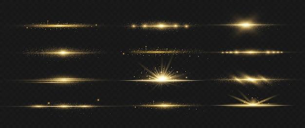 Yellow horizontal lens flares pack. laser beams, horizontal light rays.