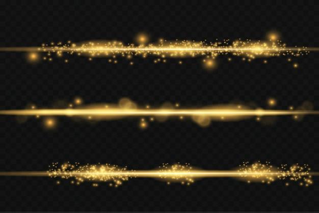 Набор желтых горизонтальных бликов. лазерные лучи, горизонтальные световые лучи.