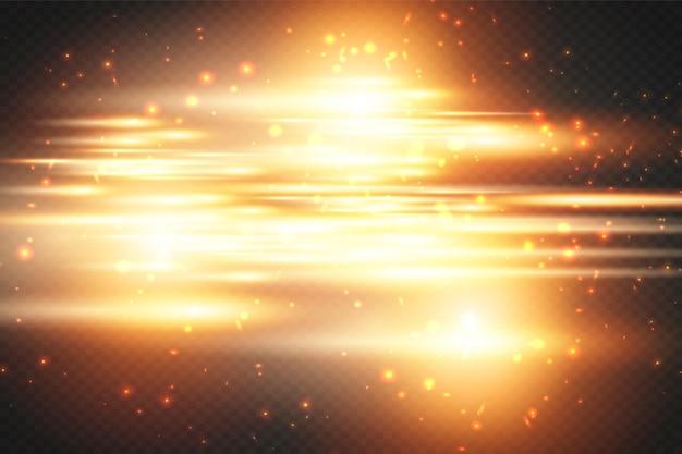 黄色の水平レンズフレアパックレーザービーム水平光線