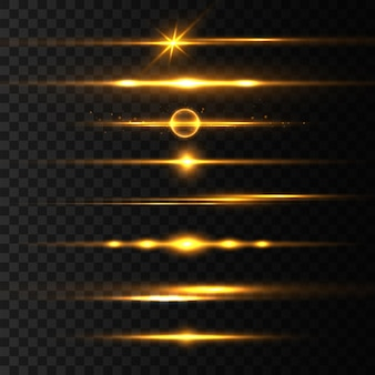 Yellow horizontal lens flares pack, laser beams, light flare. light rays glow line bright golden glare on transparent background glowing streaks. luminous abstract sparkling lines.  illustration
