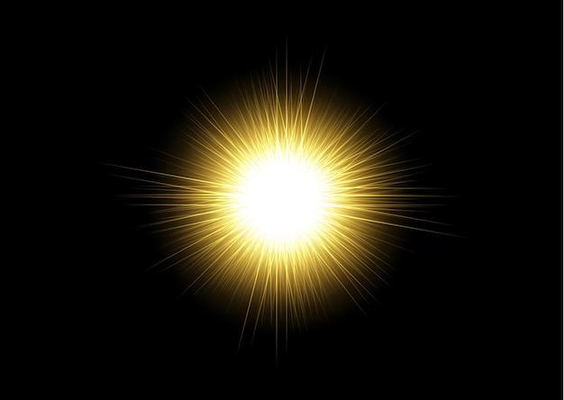 黄色の水平透明背景レンズフレアパック