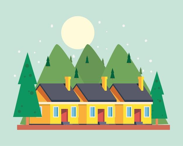 松の木のある黄色い家