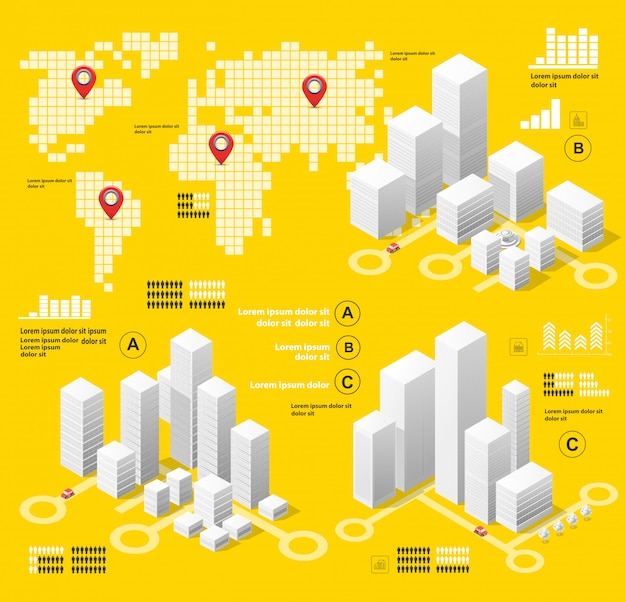 Yellow illustration infographics