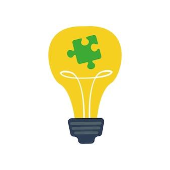Желтая лампа накаливания с кусочком пазла внутри символа аутизма помощь при психологических расстройствах