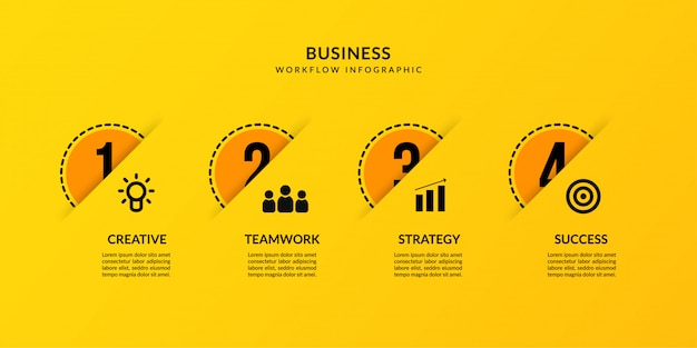 Yellow infographic with four optional, outline data communication for business report