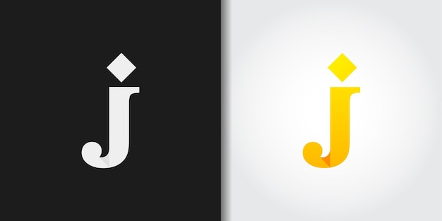 Yellow initial letter j logo set