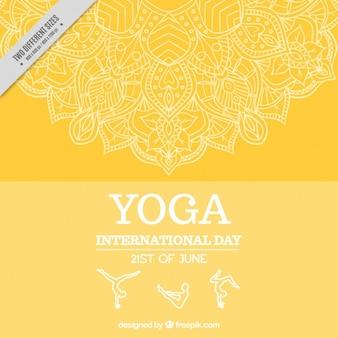 Yellow international yoga day background