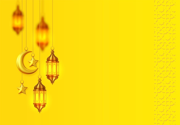 Yellow islamic background with hanging lantterns