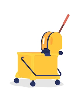 Yellow janitor cart semi flat color vector object