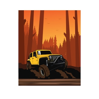 Yellow jeep on the forest