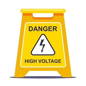 Yellow label limits the area due to high voltage