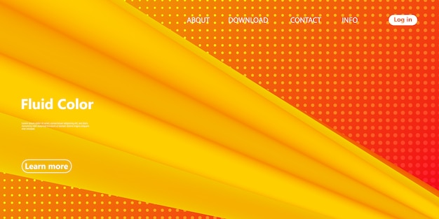 Yellow. landing page. 3d fluid poster. vector.