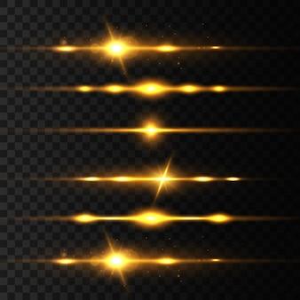 黄色のレーザー光線、光のフレア。