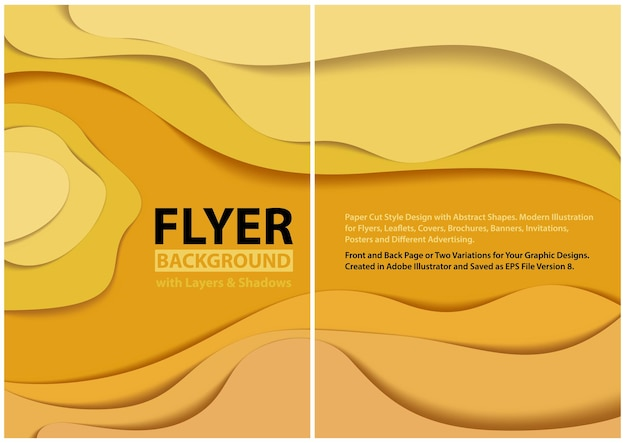 그림자와 추상 물결 모양의 노란색 계층화 된 배경