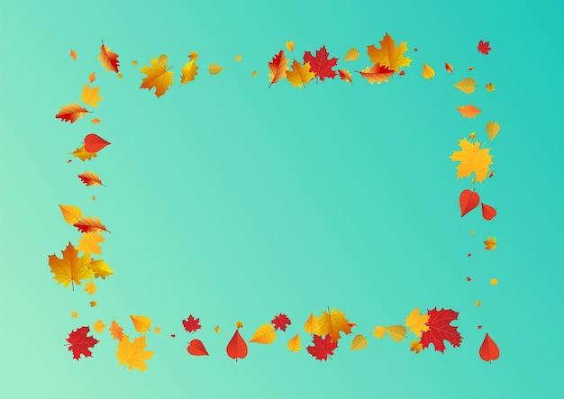 黄色の葉ベクトル青い背景。孤立した花のイラスト。黄土色の壁紙の葉のデザイン。 9月のフレーム。
