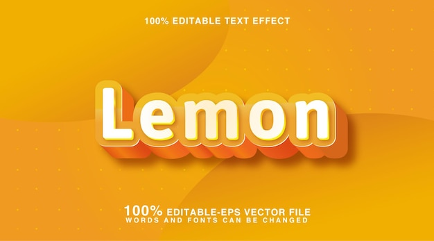 Yellow lemon editable custom text style effect
