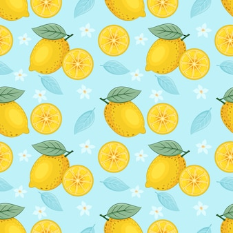 Yellow lemon seamless pattern on blue background vector design.