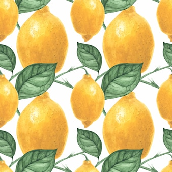 Yellow lemon seamless pattern by traced watercolor