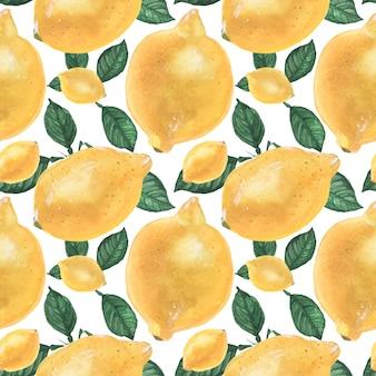 Yellow lemon seamless pattern