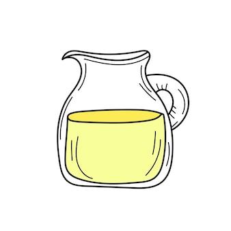 유리 재그에 노란색 레모네이드입니다. 신선한 여름 음료