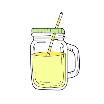 유리 항아리에 노란색 레모네이드입니다. 신선한 여름 음료입니다. 흰색 배경에 고립 된 손으로 그린 이미지입니다. 해독과 건강한 삶.