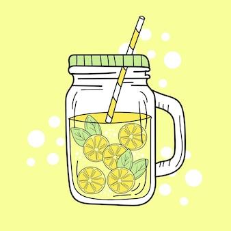 유리 항아리에 노란색 레몬과 레모네이드입니다. 신선한 여름 음료