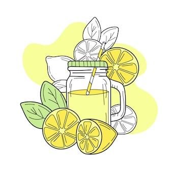 유리병에 든 노란색 레몬과 레모네이드 신선한 여름 음료