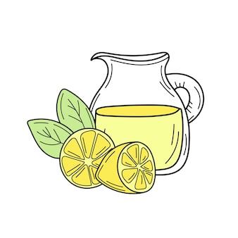 유리 용기에 노란색 레몬과 레모네이드입니다. 신선한 여름 음료입니다. 흰색 배경에 고립 된 손으로 그린 이미지입니다. 해독과 건강한 삶.