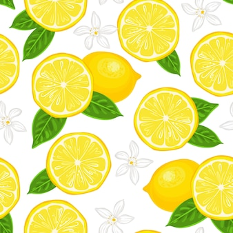 Yellow lemons and white flowers seamless pattern