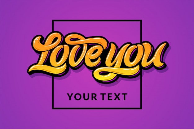 Yellow letters love you with a square frame on a lilac background. in the illustration there is a field for your text.  illustration for the wedding invitation, greeting card, banner, flyer