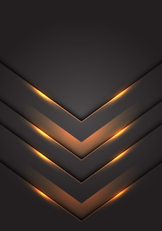 Yellow light 3d arrow direction dark grey blank space background.