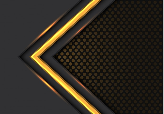 Yellow light arrow direction dark circle mesh background.