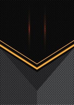 Yellow light arrow on gray black circle mesh background.