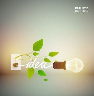 Yellow light bulb abstract poster with electric equipment and green leaves growing from power-outlet illustration