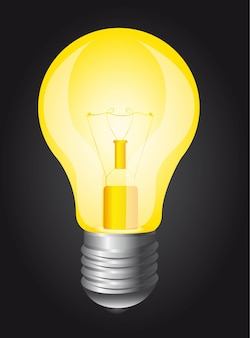 Yellow light bulb over black background vector illustration