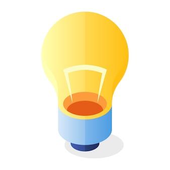 黄色の電球フラットアイコン。インスピレーション、イノベーション、内なるエネルギー、創造的または科学的に成功したアイデア