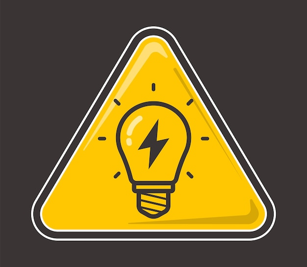 Yellow light bulb with lightning inside on a colored background. flat vector illustration.