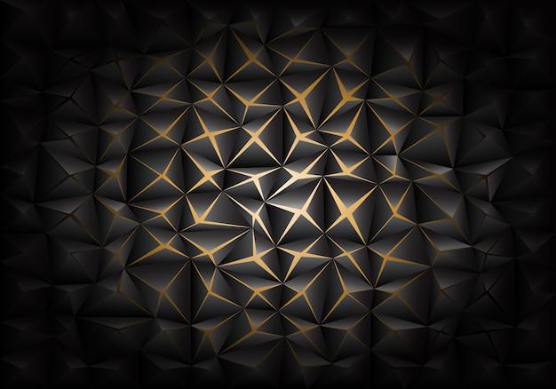 Yellow light in dark gray triangle polygon background. Premium Vector