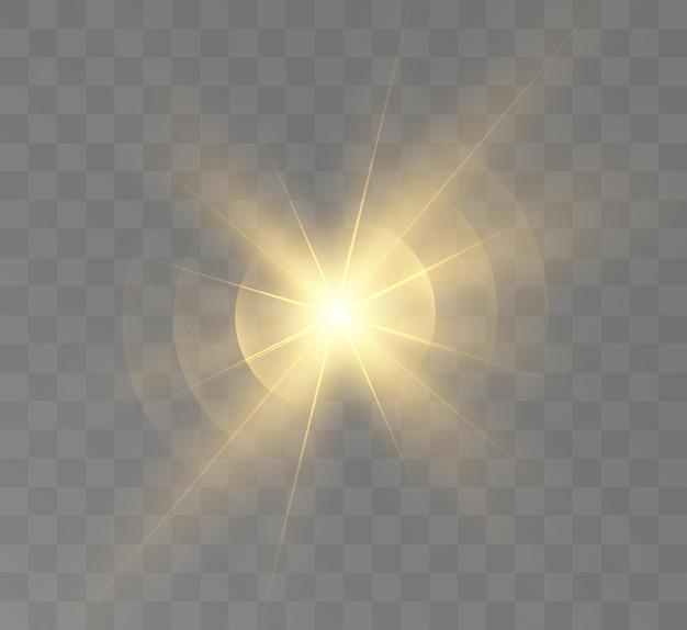 光線とハイライトの黄色の光の効果スターコスモスベクトル