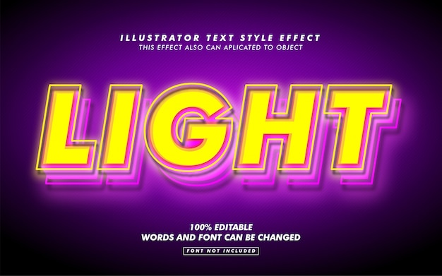 Yellow light text style effect mockup