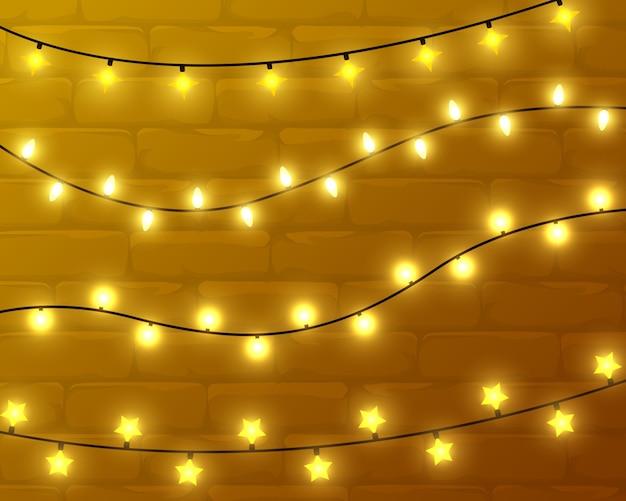 黄色の照明、クリスマスに輝く花輪