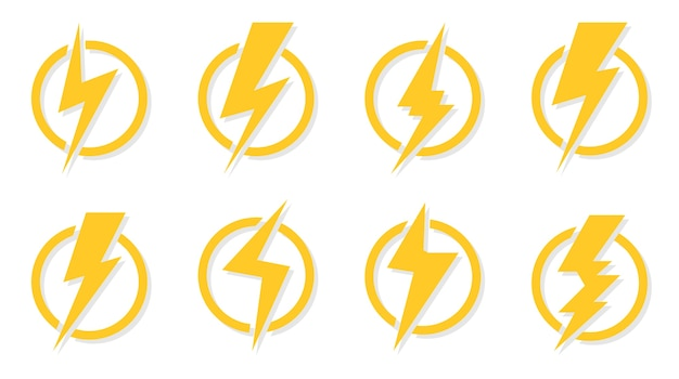 Yellow lightning bolt icons set. electrical strike sign in circle. great for design logo voltage power and danger of electric shock. symbol energy and thunder electricity