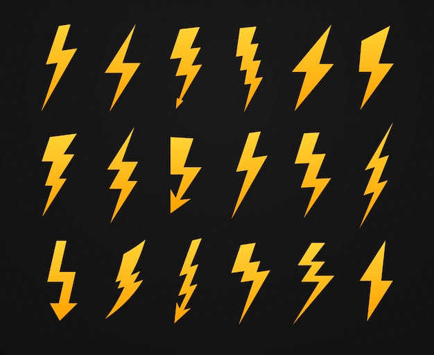 Yellow lightning silhouette. electrical power high voltage, thunderbolt flash and energy lightnings silhouettes icons set
