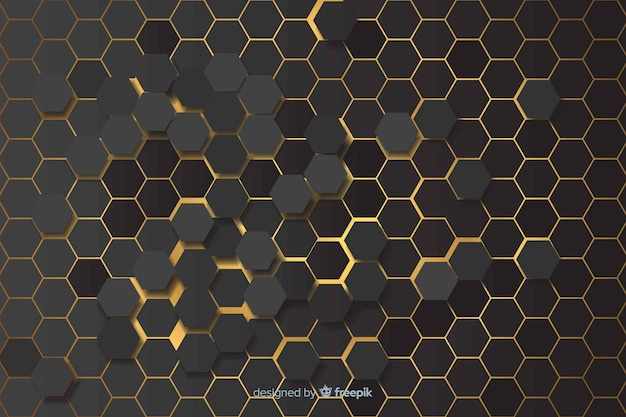 Yellow lights of hexagonal pattern background