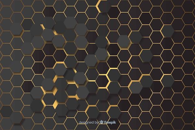 Yellow lights of hexagonal pattern background