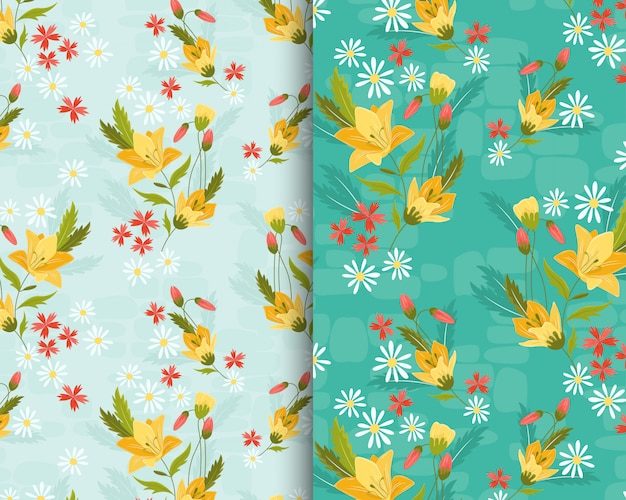 Yellow lily garden pattern