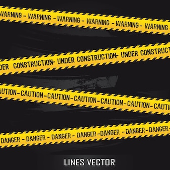 Yellow lines over black background vector illustration