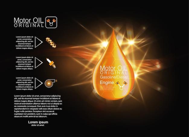 黄色の液体油滴。図。