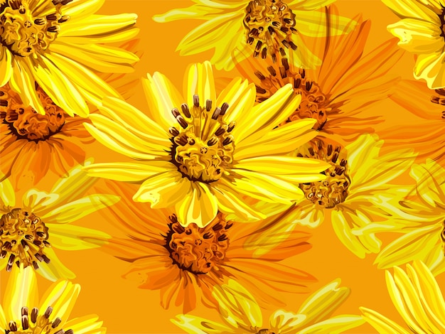 黄色の小さな星の花のシームレスパターン